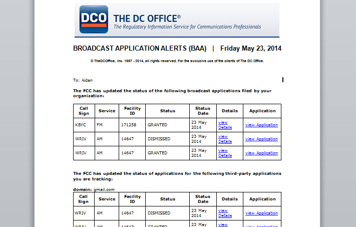 Broadcast Application Alerts